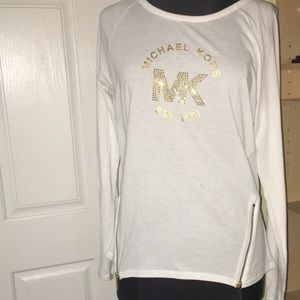 MICHAEL Kors white and gold logo top